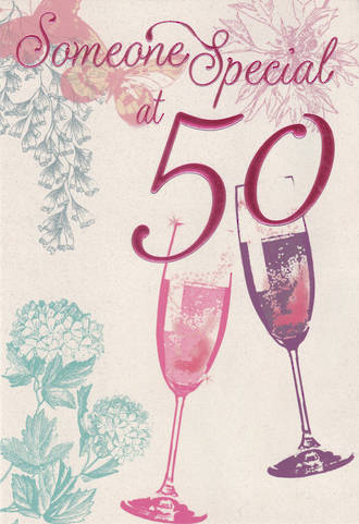 Birthday Age Card 50 Female Pink Foil