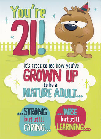 Birthday Age Card 21 Male Mature