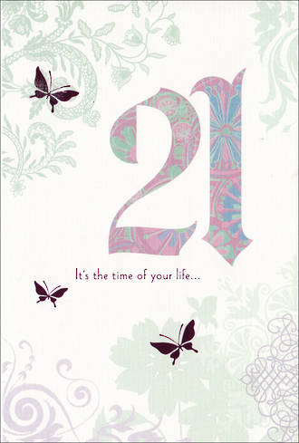 Birthday Age Card 21 Female Butterflies