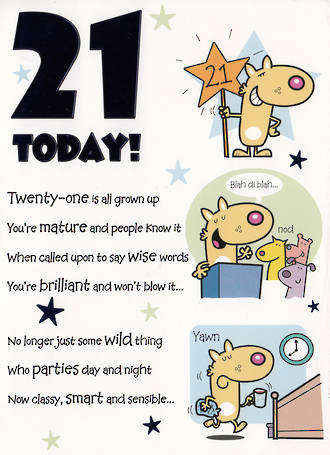 Birthday Age Card 21 Male Cartoon Poem