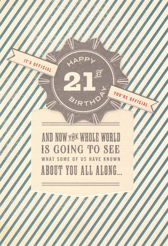 Birthday Age Card 21 Male Ribbon