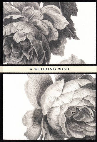 Wedding Card Hallmark Large Black White Flower