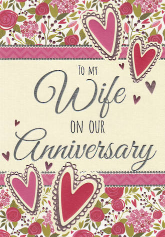 Anniversary Card Entwine Wife Roses