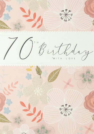 Birthday Age Card 70 Female Halcyon Pink