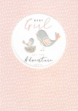 Baby Card Halcyon Girl Birds