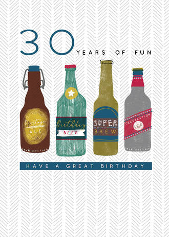 Birthday Age Card 30 Male Beer Halcyon