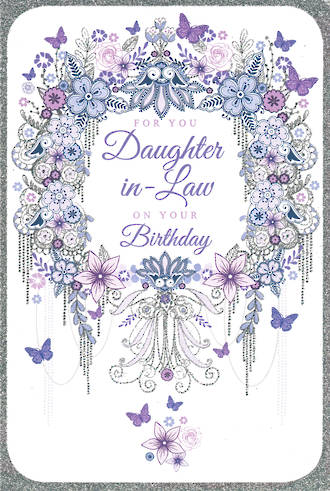 In Laws Birthday Card Daughter In Law Pizazz Flitter