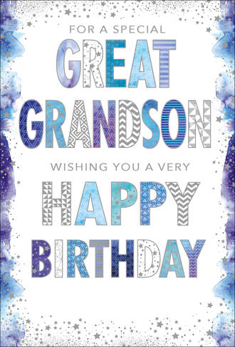 Grandson Birthday Card Great Grandson Pizazz For Men Tall