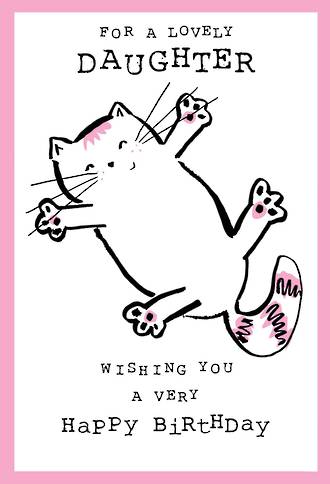 Daughter Birthday Card Doodle Large Cat