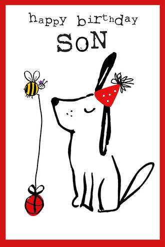 Son Birthday Card Doodle Large Dog