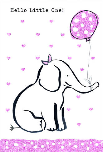 Baby Card Girl Doodle Large Elephant