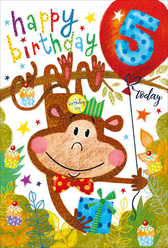 Birthday Age Card 5 Boy Party Monkey