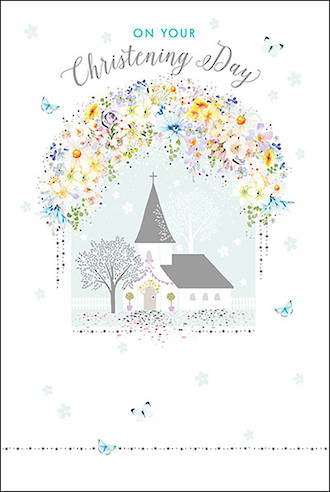 Baby Christening Card Pizazz Church & Flowers