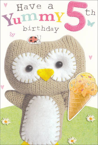 Birthday Age Card 5 Girl Marshmallow Owl