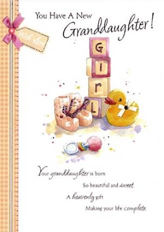 Baby Card Grandchild Word For Word Granddaughter