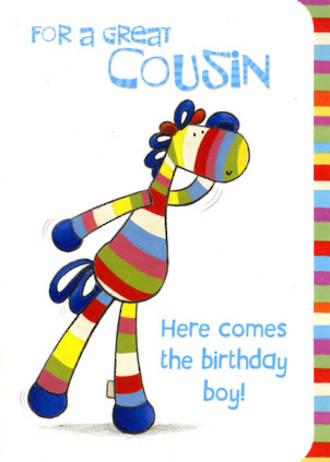 Cousin Birthday Card Stripey Horse