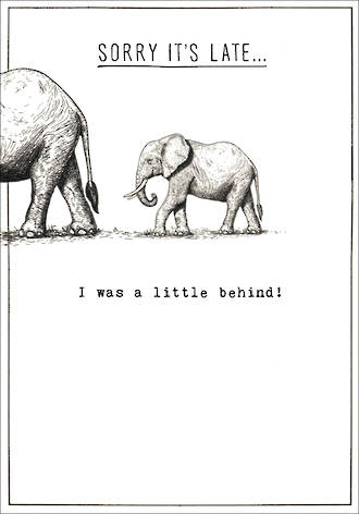 Belated Birthday Card Etched Elephant