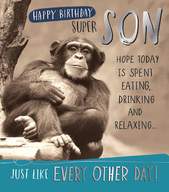 Son Birthday Card Funny Works Monkey
