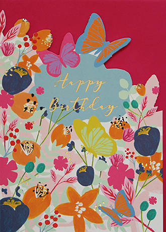 Birthday Card Female Dandelion Butterfly