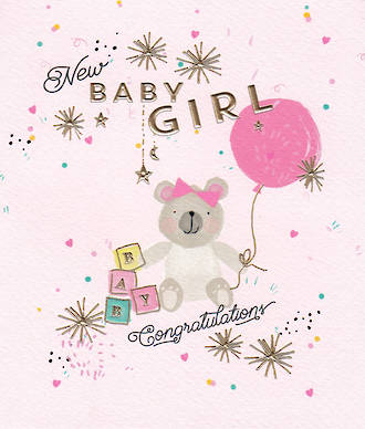 Baby Card Girl Dazzle Balloon
