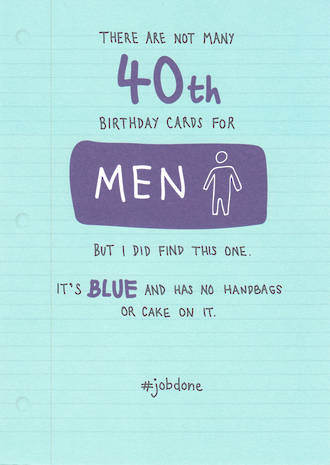 Birthday Age Card 40 Male Just Saying