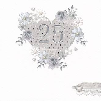 Anniversary Card 25th Silver Made With Love Heart