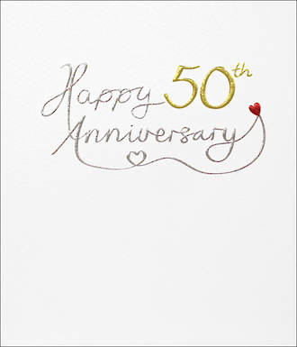 Anniversary Card 50th Gold Mimosa Text