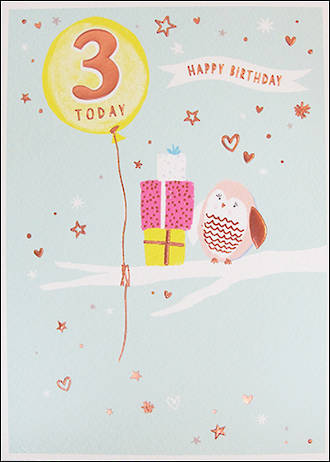 Birthday Age Card 3 Girl Pancake Owl
