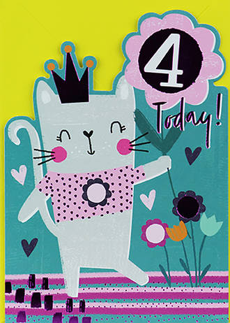Birthday Age Card 4 Girl Cat With Crown