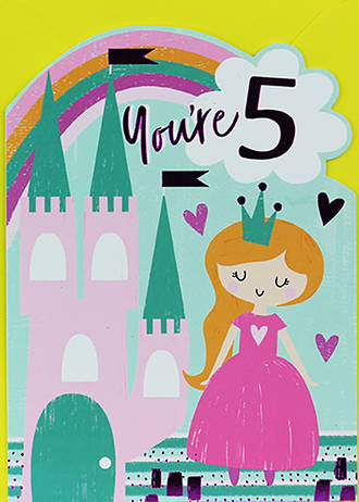 Birthday Age Card 5 Girl Princess Castle