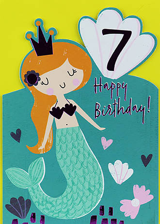 Birthday Age Card 7 Girl Happy Mermaid