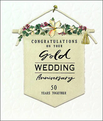 Anniversary Card 50th Gold Willow Anniversary