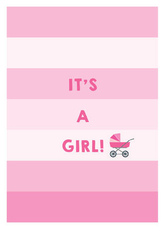 Baby Card Baby Girl Pink Stripes