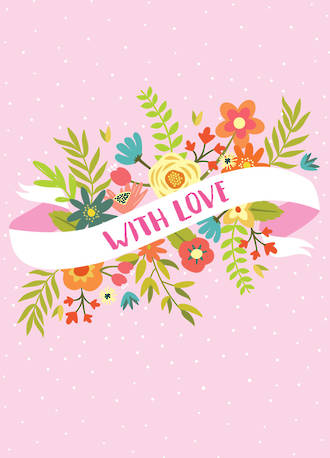 Mini Card With Love Banner Pink