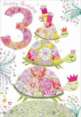 Birthday Age Card 3 Girl Daisy Patch Turtle