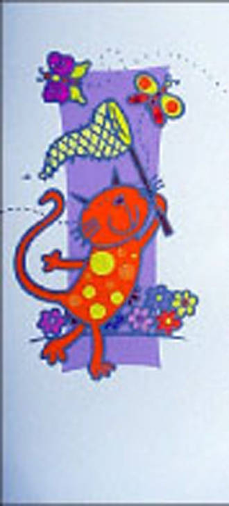 Female Birthday Card: Jazz Cat Catching Butterfly