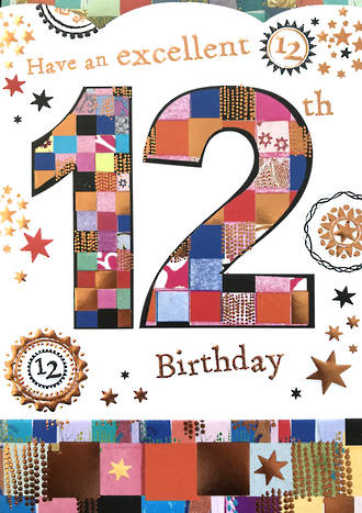 Birthday Age Card 12 Girl Mosaic