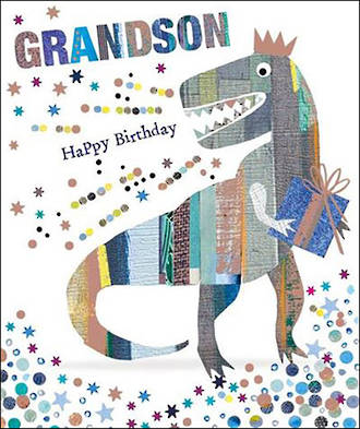 Grandson Birthday Card Mosaic Dinosaur