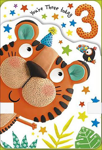 Birthday Age Card 3 Boy Party Tiger