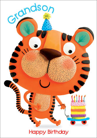 Grandson Birthday Card Marzipan Toybox Tiger