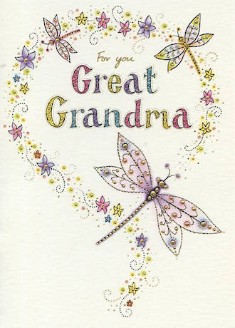 Great Grandmother Birthday Card Neapolitan Dragonflies
