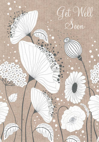 Get Well Card Black and White Flowers