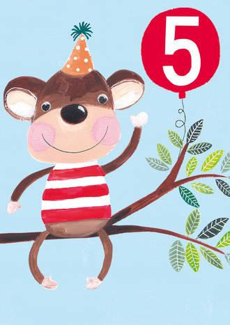 Birthday Age Card 5 Boy Monkey Balloon