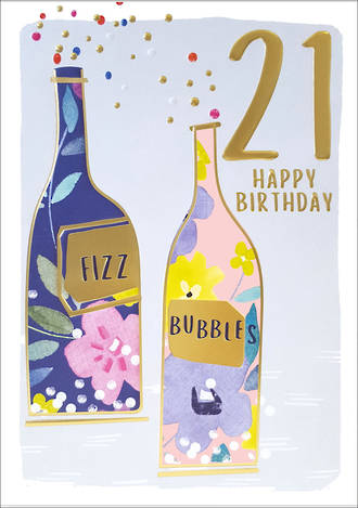 Birthday Age Card 21 Female Kirra Fizz Bubbles