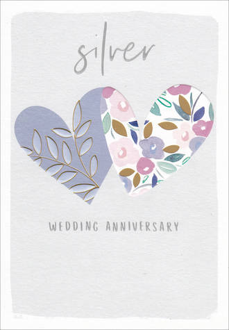 Anniversary Card 25th Silver Kirra Hearts