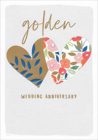 Anniversary Card 50th Gold Kirra Hearts