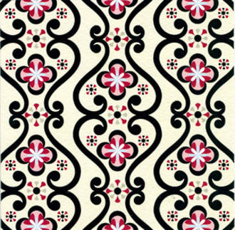 Blank Card General Pattern Pages Black & Red Design