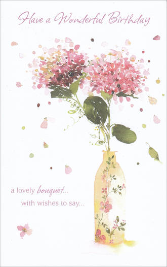 Birthday Card Female Tall Bouquet With Wishes