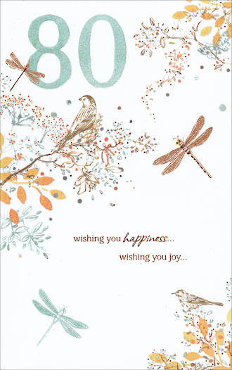 Birthday Age Card 80 Female Tall Wishing You Happiness