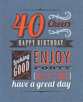 Birthday Age Card 40 Male Talk The Type